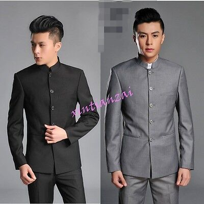 (Mens Single Breasted Suit Mao Oriental Style Tunic Jacket Blazer Pants Suit Hot)