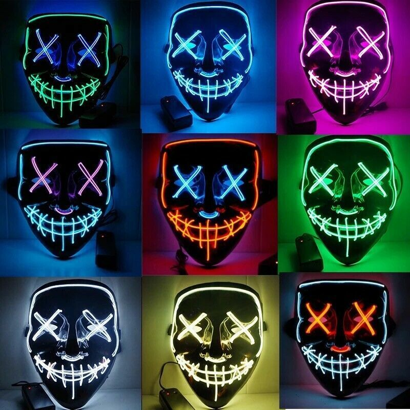 3 Modes Scary Mask Cosplay LED Costume Mask EL Wire Light Up The Purge Movie US