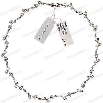 RRP $32 flower vine RHINESTONE crystal choker NECKLACE white gold pl silver tone