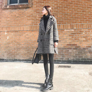 Trendy black and white plaid thick coat