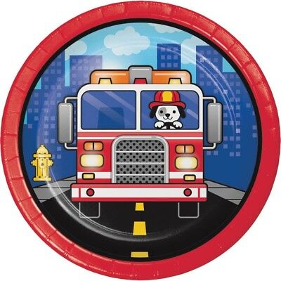 Flaming Fire Truck Dessert Plates (8) - Birthday Party Supplies - Fire Truck Birthday Supplies