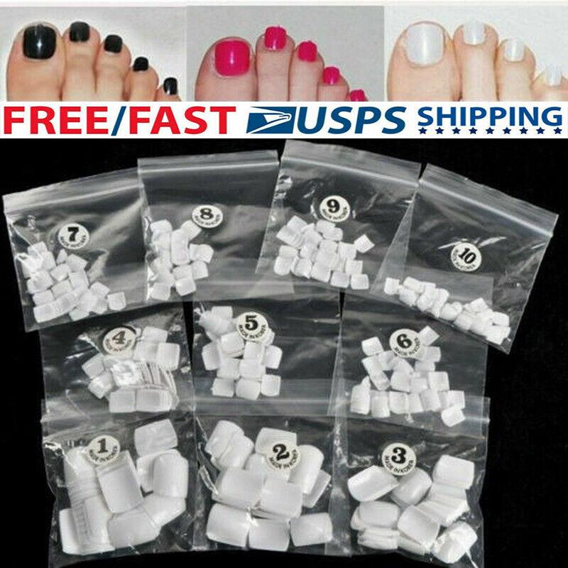 500Pcs Clear Acrylic UV Gel Foot Toe Nail Transparent Design Natural Tip USA