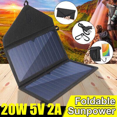 20W Solarpanel Solarmodul Akku Power Bank Handy USB Ladegerät Camping Wandern Usb Solar Panel