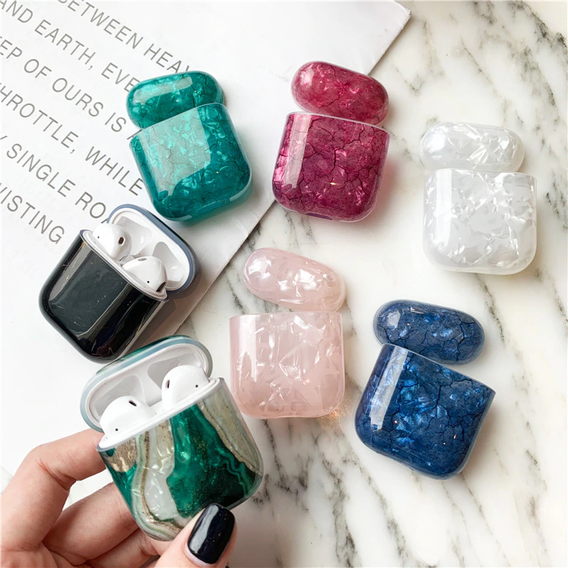 Luxury Marble Case for AirPods Charging EarPods Metal Skin D