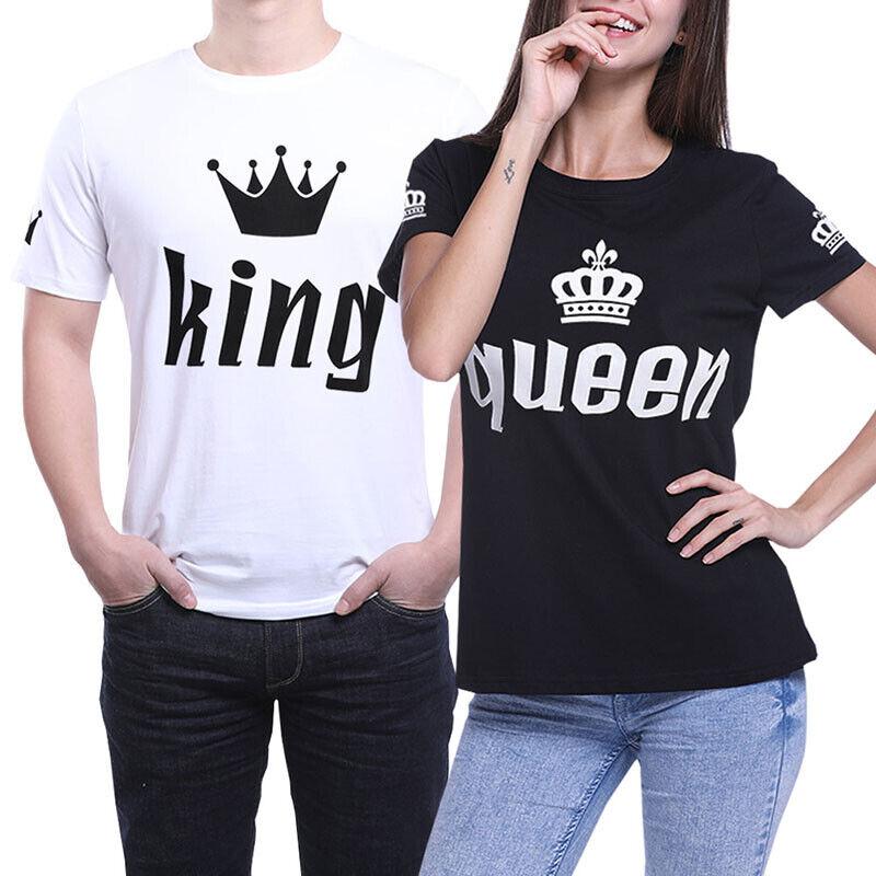 Men Women Couple T-Shirt King And Queen Love Matching Shirts