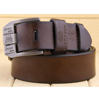 Men's Genuine Cow Leather Waistband Waist Belt Strap Girdle Smooth Buckle New