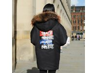 DAYMISFURRY--Mink Fur Lined Military Parka with Raccoon Fur Hood