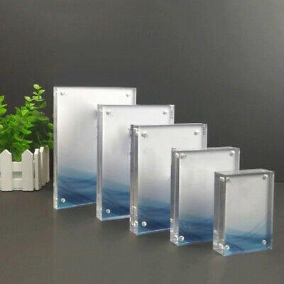 Small Freestanding Polished Clear Acrylic Magnetic Picture Photo Frame Decor](Magnetic Photo Frame)