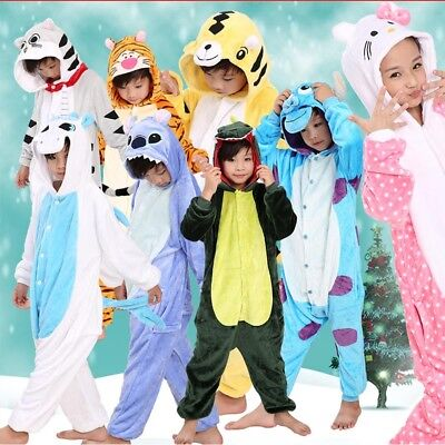 Kid's Flannel Sleepwear Boys Girls Pajamas Kigurumi Cosplay Animal Home - Girl Animal Costumes
