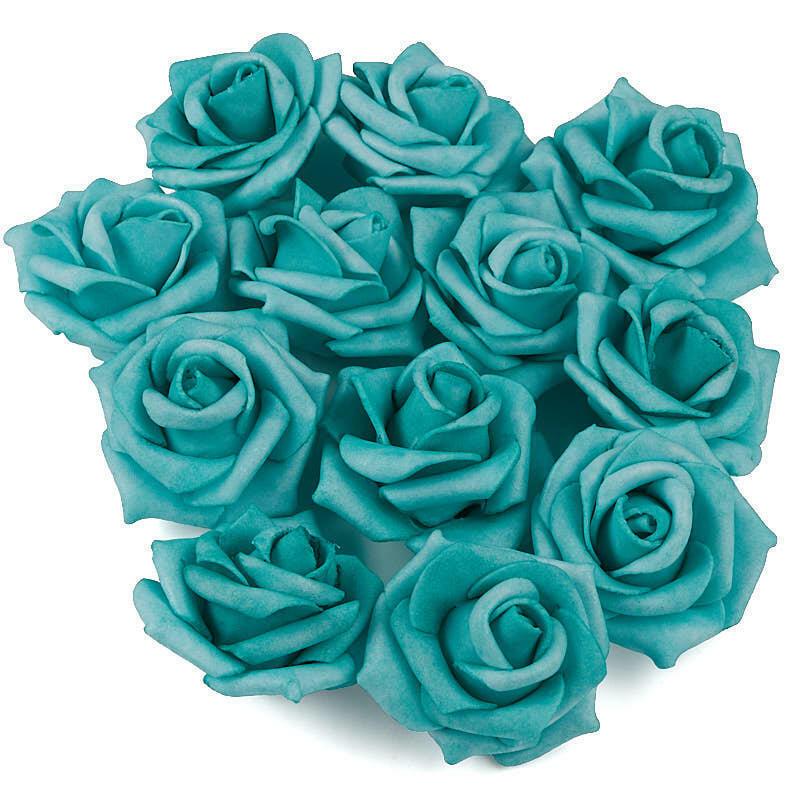 Factory Direct Craft Aqua Artificial Rose Heads | 36 Pieces