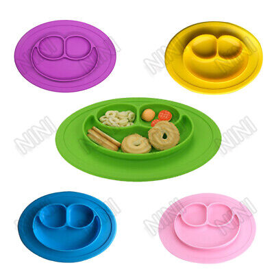 NINI Baby Food Plate Smiling Face Shape Silicone Feeding Mat Infants Tray Dish