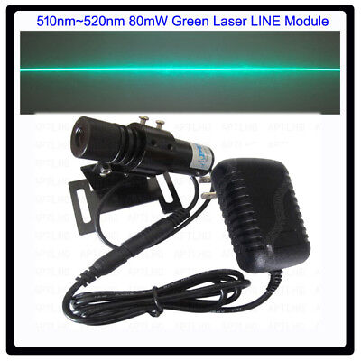 Industrial 510nm520nm 80mw Green Laser Line Modulewith Power Adapt And Bracket