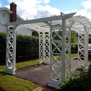 12'x12' White Wooden Arbour. Available after August 13, 2016