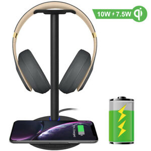 Fast Wireless Charger with Headphone Stand New bee 2-in-1 10w