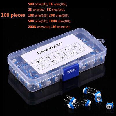 100pcs Rm065 Trimpot Potentiometer Assortment Kits 10 Values Variable Resistor