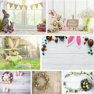 3x5FT Easter Bunny Photography Backdrops Eggs Flowers Background  Photo - Easter Photography Backdrops
