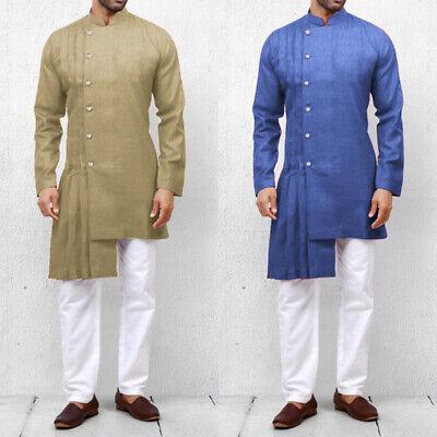 Men's Islamic Abaya Muslim Thobe Dress Saudi Arab Kaftan Shirts Tunic Tops New
