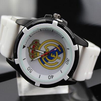 Men's Wristwatch Real Madrid Watch Sports Boy's White Band Football Fan Souvenir