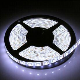 Brand New 12V Super Bright Cool White LED Strip Light, 5 Meters Long, Including Power Supply