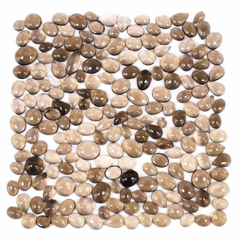 193 Pcs Natural Smokey Quartz 6mm-14mm Loose Cabochon Gemstones Wholesale Lot