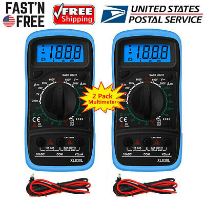 2 Pack Digital Multimeter Ac Dc Voltmeter Ammeter Ohmmeter Volt Tester Meter