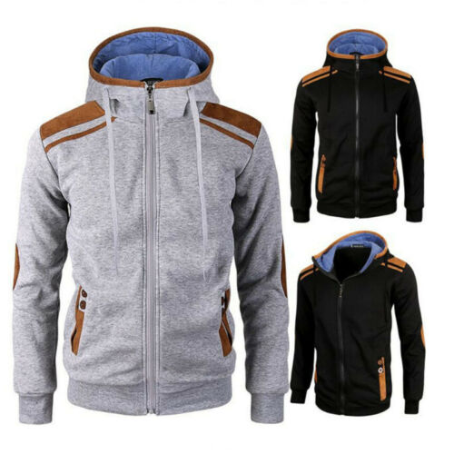 New Sports Mens Plain Hoodie Zip Up Fleece Hoody Jacket Swea