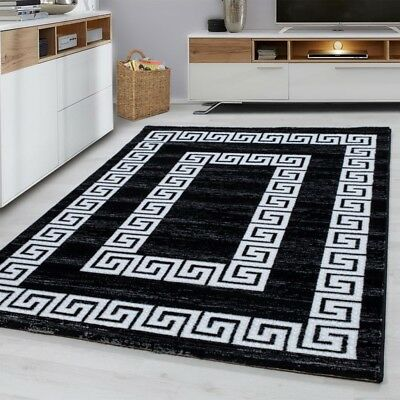 Black and White Rug Modern Versace Style Pattern Small Large Runner Carpet Mat