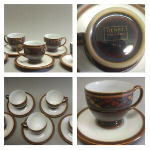 DENBY cups & saucers set of six. Shiraz pattern. Excellent cond.