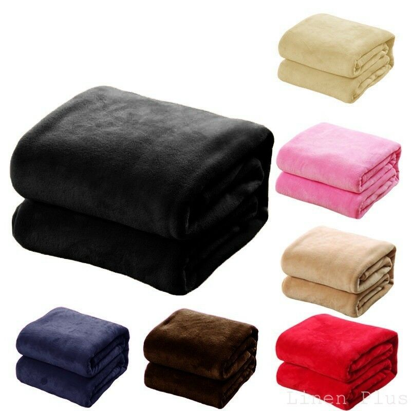 Soft Micro plush Flannel Fleece Throw Blanket New 50″x 60″ All Colors Bedding