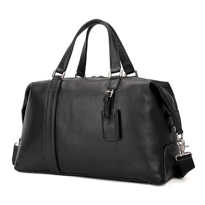 "Men Genuine Leather Travel Duffle Gym Weekender Bags 15.6"" Laptop Totes Fashion"