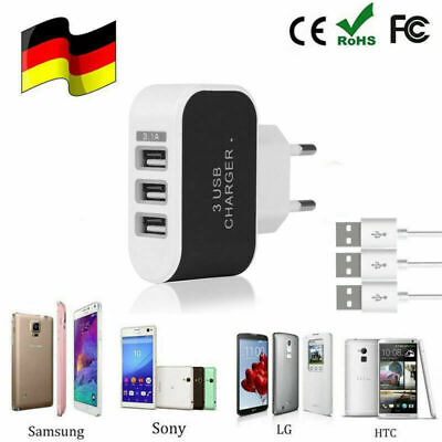 Home Travel Ac Adapter (Universal 3-Port USB 5V Wand Home Travel AC Schnellladegerät Adapter EU Stecker)