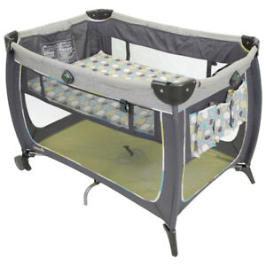 SAFETY 1st CRIB WITH TIRES. PORTABLE MINT COMDITION FOLDABLE.