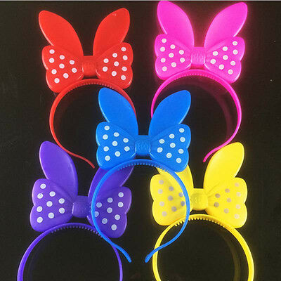 8 LED Flashing Polka Dots Light up Head Band Bows Bunny Ears Party birthday (Bunny Head Band)