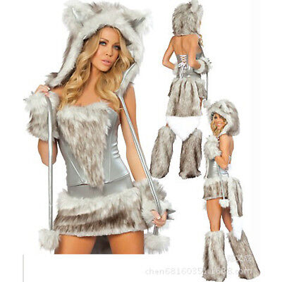 Christmas Halloween Sexy Women Ladies Fluffy Cat Costume Animal Cosplay - Womens Cat Halloween Costume