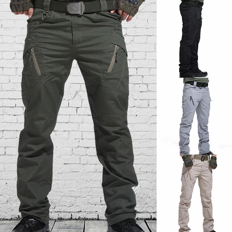 Men Waterproof Tactical Work Trousers Cargo Pants Combat Fishing Hiking Outdoor^