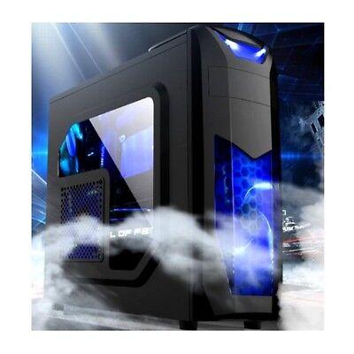 X3 PC Gaming Gehäuse Midi-Tower + Fenster +2x Blauen LED Lüfter ATX mATX USB 2.0