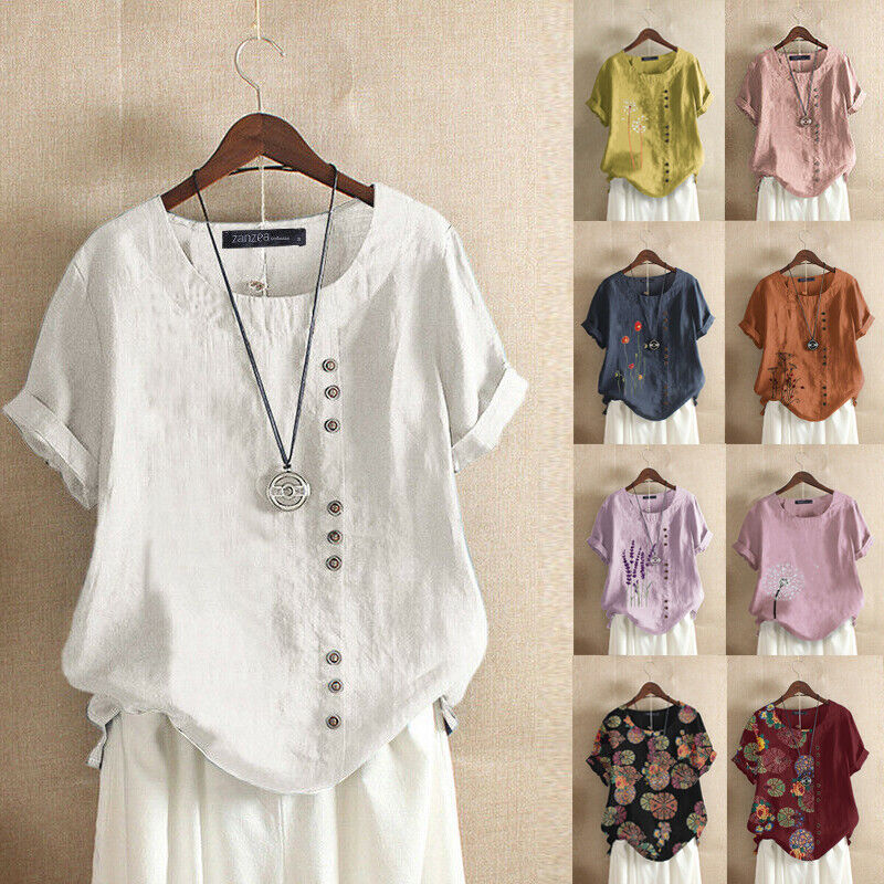 ZANZEA Women Summer Short Sleeve T-Shirt Tops Casual Plain Blouse Tee Shirt Plus
