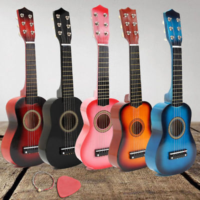 "Children Kids 21""Wooden Beginners Acoustic Guitar 6String Practice Birthday Gift"