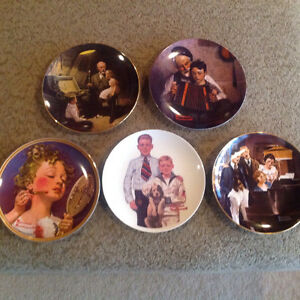 5 Norman Rockwell plates.