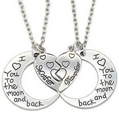 THE MOON AND BACK Mother Daughter Love Heart Pendant Necklace Family Jewelry**