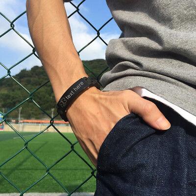 - Adjustable Medical Alert ID Bangle Bracelet Black Silicone Band Free Engraving