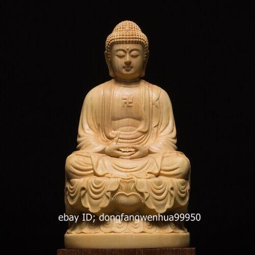 China Boxwood Hand Carved Buddhism Sakyamuni Amitabha Tathagata Buddha Statue