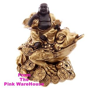 Lucky Gold Money Frog + Buddha  / Toad Chan Chu / Wealth Luck Happiness / Gift