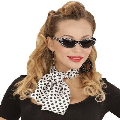3 tlg. SET 50er Jahre LADY - Cat Eye Brille, Ohrringe, Halstuch 50er 60er - Cat Eye Brille Kostüm