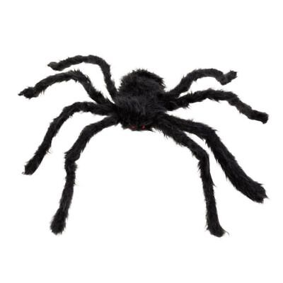 Giant Black Spider for Halloween Decorations Realistic Fake Creepy Spider 125cm ()