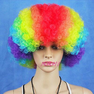 Lustige Afro Curly Clown Witz Party 70er Jahre Disco Perücke Perücken 7 .Colors