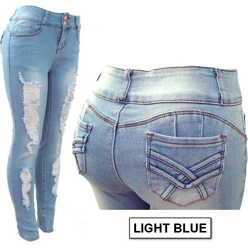 PLUS SIZE!!! Skinny Ripped Stretched Denim Jeans Destroyed P
