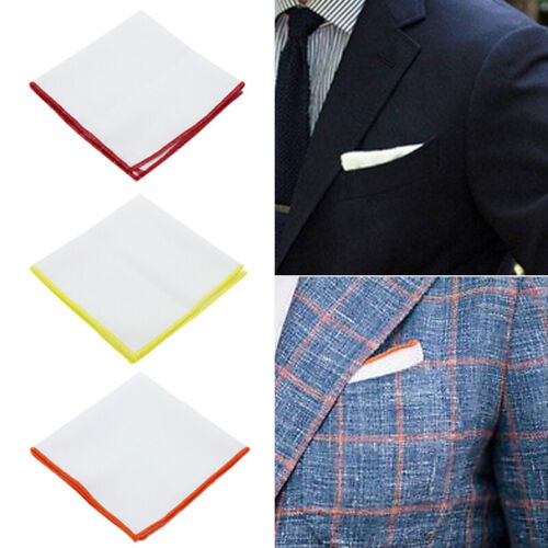 Men Solid White Candy Color Border Cotton Pocket Square Handkerchief Party Decor