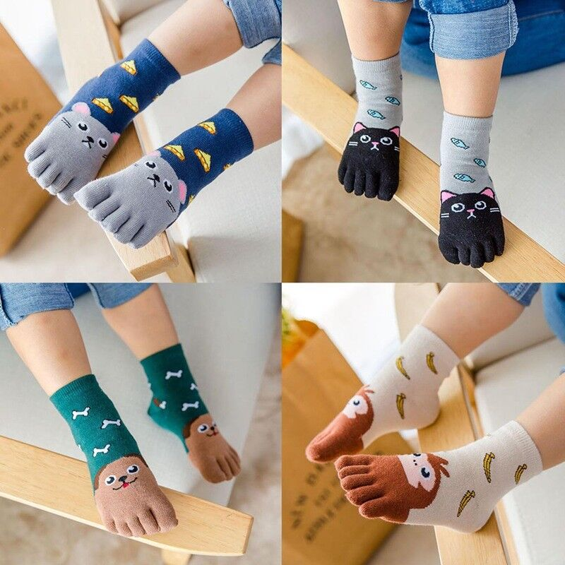 1 Pair Cotton Five Fingers Sock Toe Sock Cute Cartoon Animal Boys Girls Kids