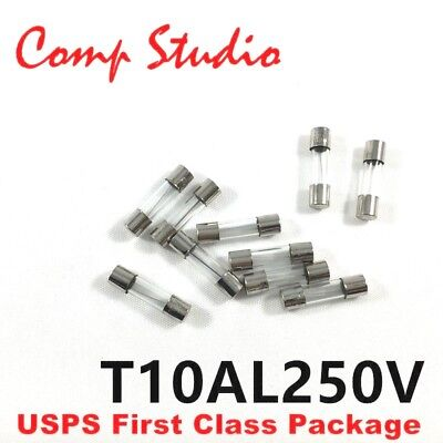 - 10pcs 10A 250V Slow-Blow Acting Fuse Glass Tube Time-Delay Fuse 5X20mm